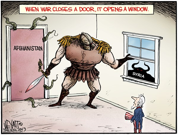 Christopher Weyant - The Hill - War Infinitum COLOR - English - war, afghanistan, syria, united states, uncle sam