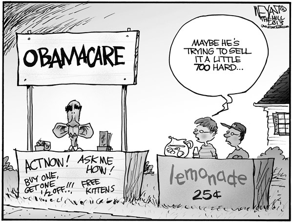 Christopher Weyant - The Hill - The Big Sell - English - Obama, Obamacare, healthcare reform, lemonade, selling