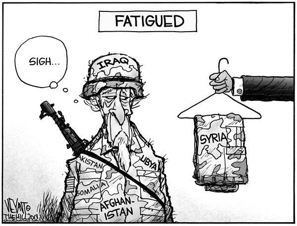 Christopher Weyant - The Hill - Fatigued - English - Uncle Sam, fatigued, Obama, Syria, attack, war, Iraq, Iran, Afghanistan, Pakistan, Libya, Somalia, Yemen,