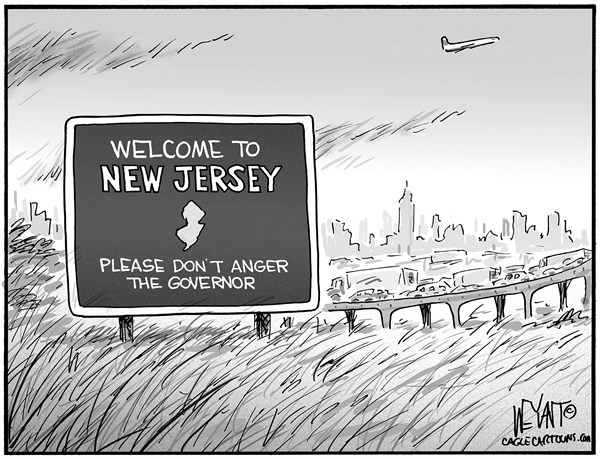 Christopher Weyant - The Hill - Angry Governor - English - Chris Christie, New Jersey, shutdown, Port Authority, Ft Lee, Fort Lee, George Washington Bridge, abuse, power, revenge, bully, petty, angry, governor