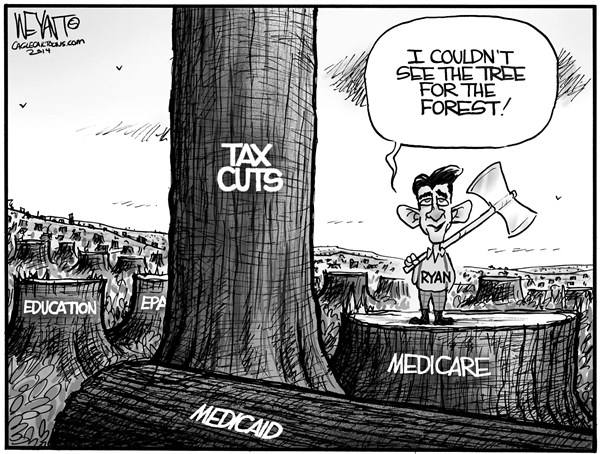 Christopher Weyant - The Hill - Tree For The Forest - English - Paul Ryan, Congress, budget, medicare, medicaid, education, cuts, forest for the trees, tax cuts, rich, top 1