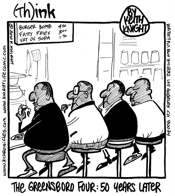 Keith Knight - PoliticalCartoons.com - Greensboro Four - English - 						health,obesity,african-american black,history,greensboro,four,eat,diner,fifty,years,men,civil,rights