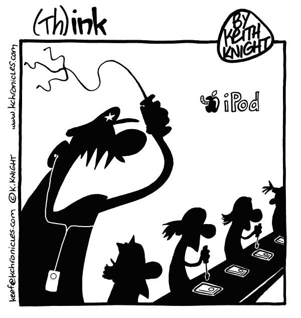Keith Knight - PoliticalCartoons.com - Apple Sweatshop - English - apple, china, sweatshop, labor, ipods, iphones, ipads