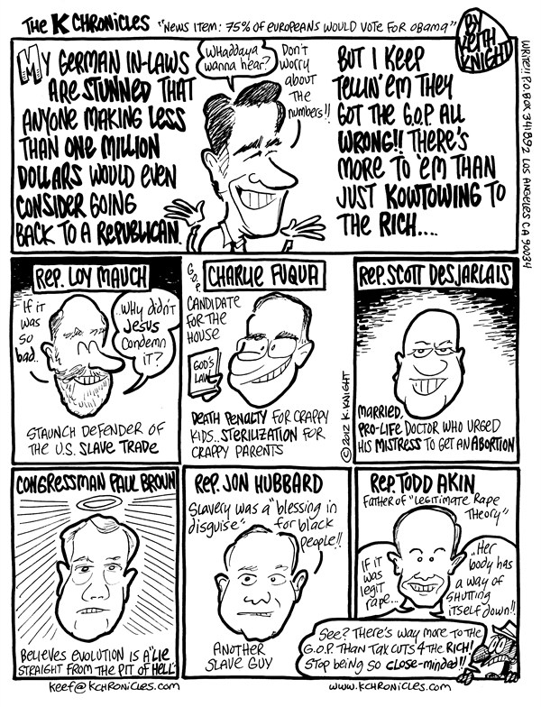 Keith Knight - PoliticalCartoons.com - Republican Diversity - English - republicans, gop, romney, akin, hubbard,