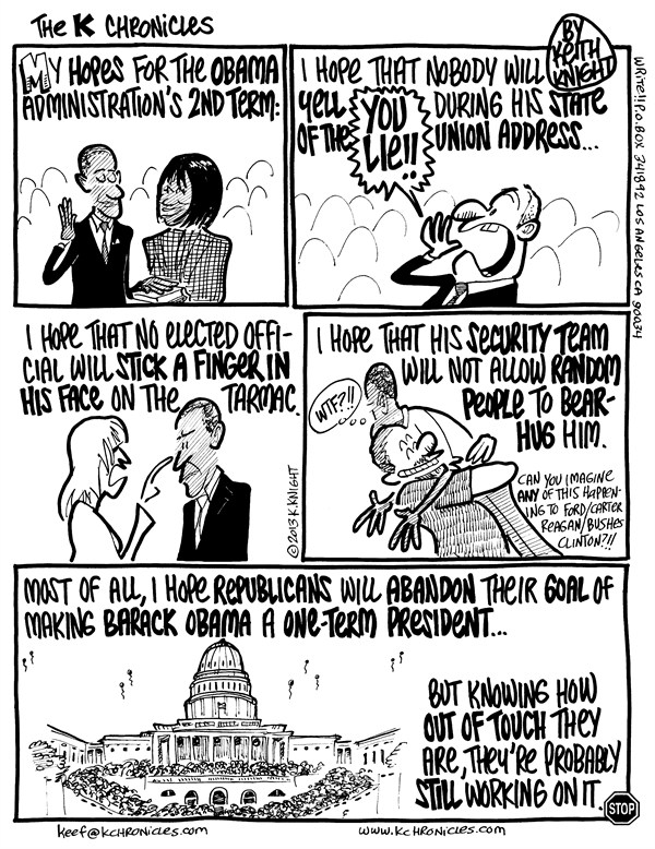 Keith Knight - PoliticalCartoons.com - 2nd Term - English - inauguration, obama, 2nd term, four more years, barack, white house