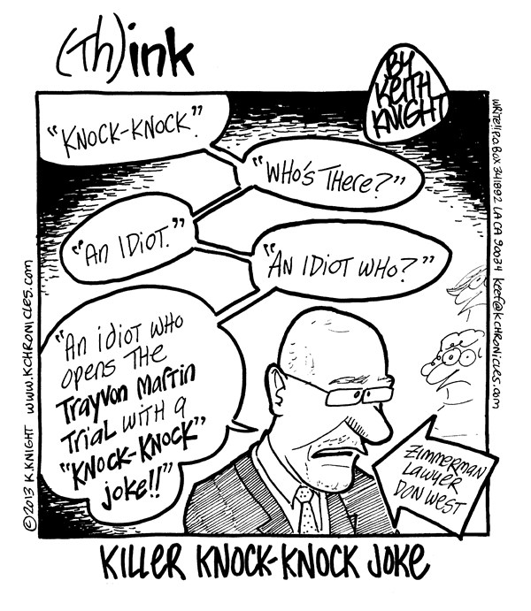 Keith Knight - PoliticalCartoons.com - Killer Knock-Knock Joke - English - ron west, george zimmerman, trayvon martin, trial