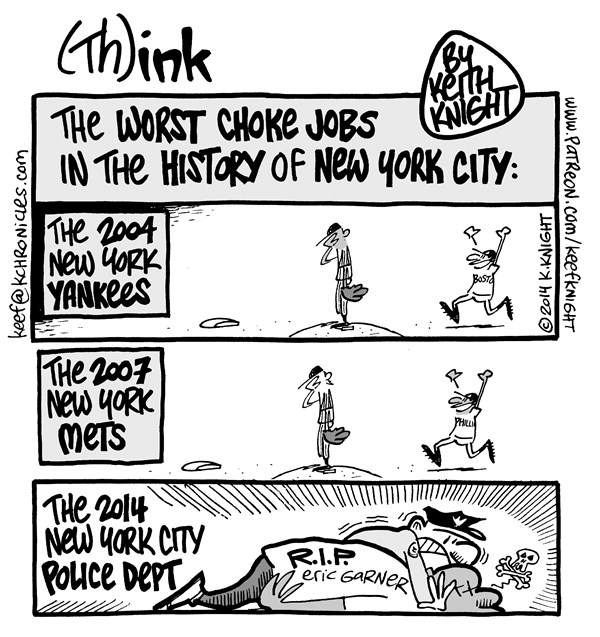 Choke Job © Keith Knight,PoliticalCartoons.com,eric garner, nypd, illegal choke hold, choke, brutality, cigarettes