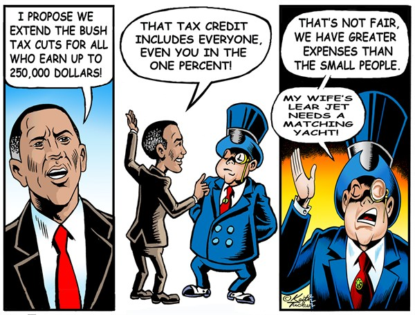 Keith Tucker - PoliticalCartoons.com - Expiring Bush era Tax cuts - English - 		Bush Tax Cuts,Barack Obama,Barack Obama 2012,Republicans,Taxes,the one percent,tax cuts,Bush Tax Cuts,Taxes,Bush Era Tax Cuts,Obama Bush Tax Cuts,Obama Middle Class Taxes,Obama Tax,Obama Tax Cuts,Obama Taxes,Tax Cuts,GOP,1 percent,fiscal cliff