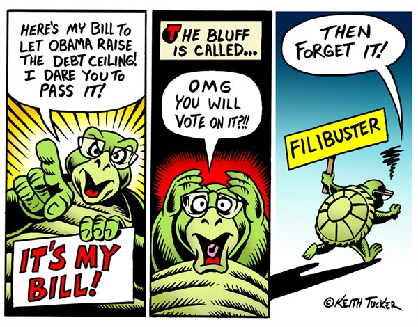 Keith Tucker - PoliticalCartoons.com -  Mitch  the turtle  McConnell Filibusters himself - English - Debt Ceiling, Harry Reid , Mitch McConnell, US Senate, Barack Obama Debt Ceiling, Filibuster, Fiscal Cliff, Mcconnell, Mcconnell Filibuster, Mitch Mcconnell Filibuster, Reid Calls Mcconnells Bluff On Debt Ceiling, Mitch McConnell Filibusters himself