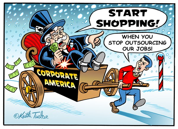 Keith Tucker - PoliticalCartoons.com - Holiday Shopping in Outsourced USA - English - Outsourcing,Sustainability,American Economy,Holidays,Consumerism,Holiday Spending,Materialism,Financial Crisis,Labor,Outsourcing,Unions,Wal-Mart,Labor Unions,National Employment Law Project,Low Wages,Low-Wage Workers,Subcontracting,holiday shopping 2012