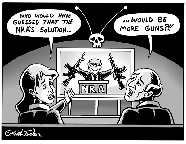 Keith Tucker - PoliticalCartoons.com - The NRA Speaks  BW  - English - NRA, NRA statement, Crime,  Clackamas Town Center Shooting,assault weapons ban, gun control, Clackamas Town Center Shooting Portland, Newtown Creek, Newtown Elementary School Shooting,Mass Shootings, Newtown-Connecticut, Sandy Hook, Sandy Hook Elementary