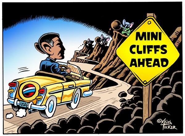 Mini Cliffs Ahead © Keith Tucker,Cagle.com,		Barack Obama,US Fiscal Cliff,Fiscal Cliff 2012,Fiscal Cliff 2013,Fiscal Cliff Agreement,Fiscal Cliff Deal,Politics News,FISCAL PATCH,GOP leaders split,House passes mini-deal,setting up new cliffs,Speaker Boehner,112th Congress,Fiscal Policy,fiscal cliff, fiscal cliff stopped