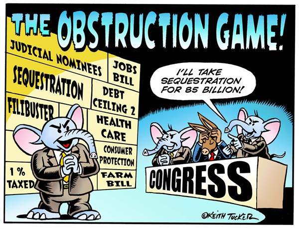 Keith Tucker - PoliticalCartoons.com - Playing the Obstruction Game  - English - Deficit, Economy, Careers, The Recession, Economic Recovery, John Boehner, Barack Obama, Budget Cuts, Economists, Sequestration, Politics News, Sequester, Newt Gingrich, Sequester Air Travel, John Boehner Move Their Ass, Senate Sequester, political toons