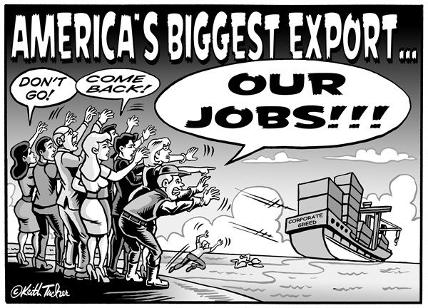 Keith Tucker - PoliticalCartoons.com - America's Biggest Export, Our Jobs  BW  - English - American Workers, Job Growth, US Jobs, Globalization Manufacturing, Jobs Exodus, Manufacturing Jobs, Offshore, NAFTA,Service Sector Jobs, Shifting Overseas , Robert Scott, US Economy, US Mexico, Economic Policy Institute,  Korus, Manufacturing Sector, GOP
