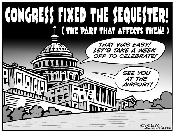 Keith Tucker - PoliticalCartoons.com - Congress fixes Sequester, For Themselves  B W  - English - Air Travel Delays, Congress Sequester, Ed Pastor, Peter Welch, Tom Latham, Air Traffic Controllers, Faa, Faa Furloughs, Faa Furloughs Congress, Faa Sequestration, sequester, Sequestration, Politics News, political cartoons, congress cartoons, GOP, Dems