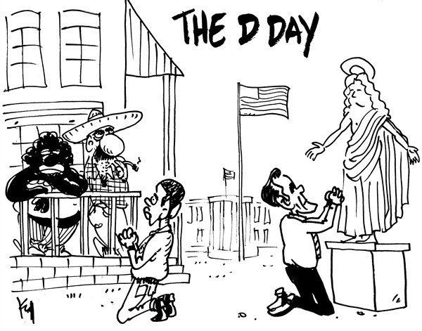 Pierre Kroll - PoliticalCartoons.com - D Day - English - voters,romney,obama,vote,election,campaign,final-election-countdown