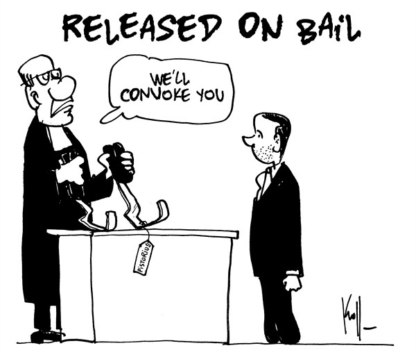 Pierre Kroll - PoliticalCartoons.com - Pistorius released - English - Pistorius, bail, south africa, murder, paralympic
