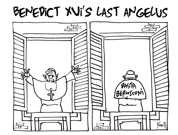 Pierre Kroll - PoliticalCartoons.com - Benedict XVI's last angelus - English - pope, Benedict, religion, Italy, Berlusconi, angelus, catholic, election italy 2013