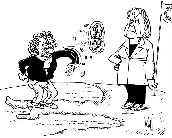 Pierre Kroll - PoliticalCartoons.com - Beppe Grillo wins  in Italy - English - Italy, Grillo, elections 2013, europe, Merkel