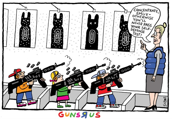 Guns R Us © Schot,De Volkskrant, Netherlands,teachers and guns,students,kids,weapons,guns