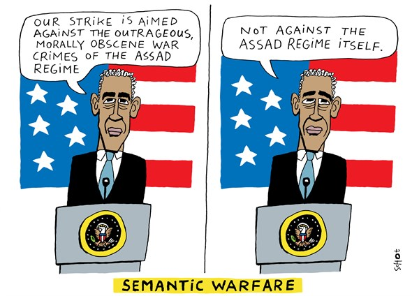 Schot - De Volkskrant, Netherlands - semantic warfare - English - strike, syria, assad, obama, usa, chemical weapons, war crimes, red line, chemical attack, syria crisis