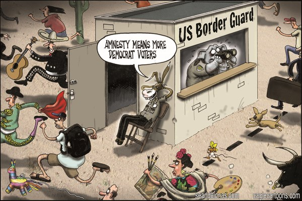 Sean Delonas - CagleCartoons.com - Amnesty voters - English - amnesty, immigration, border, democrats, republicans