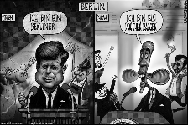 Sean Delonas - CagleCartoons.com - Obama addresses Berliners Douchen-baggen BW - English - Obama,Kennedy,Berlin