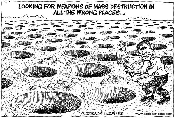 Wolverton - Cagle Cartoons - Bush looking for weapons - English - Weapons, WMD, WMDs, Mass Destruction, Bush, Iraq, search, searching, george, w, inspector, inspectors, holes, digging, hole, desert, dig, digging, saddam, hussein, nukes, nuclear, missiles