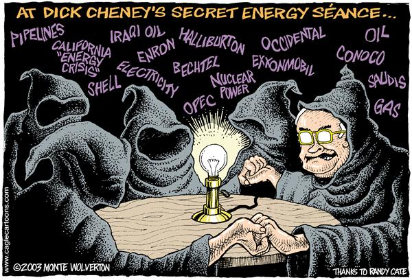 Wolverton - Cagle Cartoons - COLOR Cheneys Energy Seance - English - Dick Cheney, cheney, ouiji, seance,  Energy, Oil, Enron, fuel, gas, big oil, business, exxon, conoco, shell, pipeline, pipelines, drilling, exxonmobile, nuclear energy, opec, halliburton