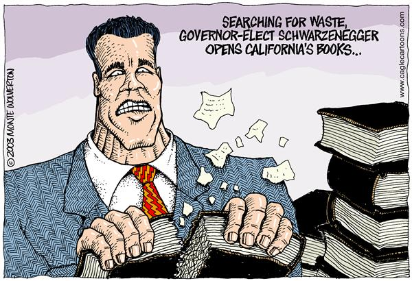 Wolverton - Cagle Cartoons - COLOR Arnold Opens the Books - English - Schwartzenegger, CA, California, Recall, election, books, elections, gray davis, davis, replacement, governor, governator, arnold, waste, spending, deficit