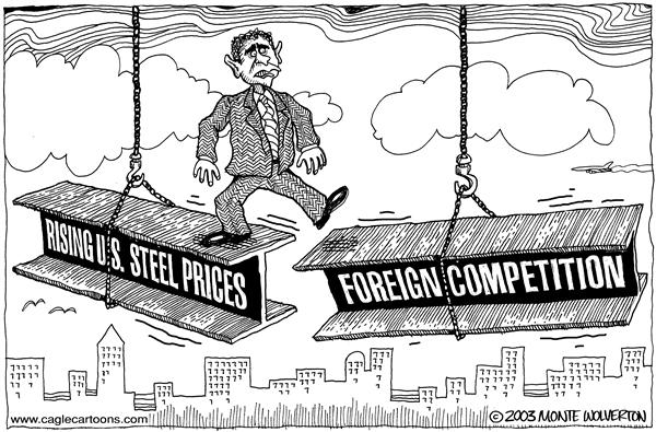 Wolverton - Cagle Cartoons - Bush lifts steel tariff - English - Bush, george, w, trade, import, imports, metal, competition, foreign, steel, tarrif, tarrifs, tax, taxation, balance, beam, pittsburgh, manufacturing, industry