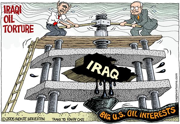 Wolverton - Cagle Cartoons - Iraqi Oil Torture COLOR - English - Oil, Bush, Cheney, Iraq, Torture, press, crush, squeeze, vp, vice president, george, w, big oil, halliburton, corporate, corporation, war, iraqi, fuel, energy, middle east, mideast, mid east