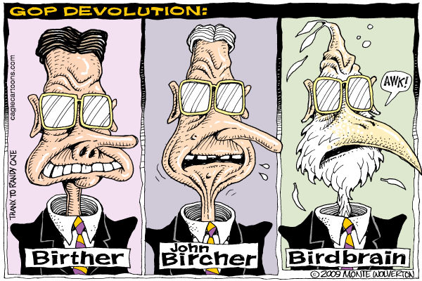 Wolverton - Cagle Cartoons - GOP Devolution COLOR - English - Birthers, John Birch, GOP, Republican, Conservative, Obama, Birther