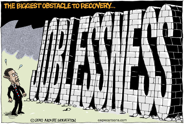 Wolverton - Cagle Cartoons - Joblessness COLOR - English - Obama, Recession, unemployment, employment, jobs, recovery, ecomony