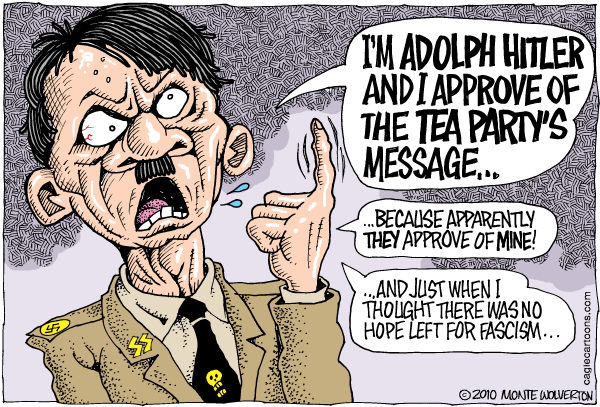 Wolverton - Cagle Cartoons - Hitler Approves This Message COLOR - English - Iott, Rich Iott, Ohio, Tea Party, Republican, GOP
