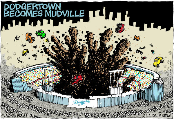 88524 600 LOCAL CA Dodgertown Becomes Mudville cartoons