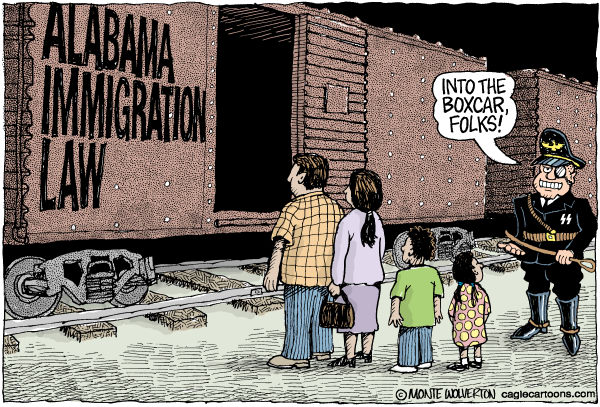 Alabama Immigration Law COLOR © Wolverton,Cagle Cartoons,Alabama, Immigration, Latinos, Mexican, Undocumented immigrants, immigrants, illegal immigrants