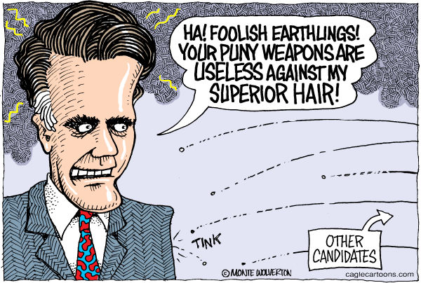Wolverton - Cagle Cartoons - Romney Hair COLOR - English - Romney, GOP Presidential, New Hampshire, Debate, Republican, Primary, hair, candidate