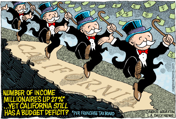 Wolverton - Cagle Cartoons - LOCAL-CA More Income MIllionaires COLOR - English - Franchise Tax Board, California, Millionaires, Income, Wealth, Rich, Deficit, Budget, Brown, Surtax, Millionaires surtax