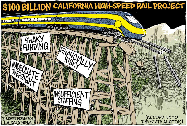 Wolverton - Cagle Cartoons - LOCAL-CA California High Speed Rail Project COLOR - English - Rail, High Speed Rail, Jerry Brown, Auditor, Brown, Governor