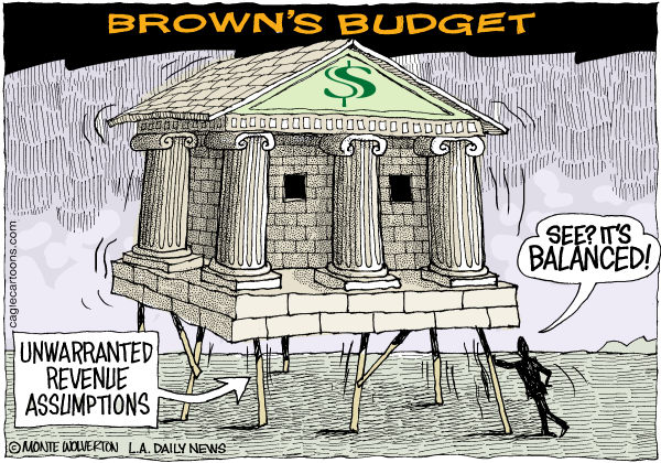 Wolverton - Cagle Cartoons - LOCAL-CA Browns Balanced Budget COLOR - English - California, Budget, Brown, Jerry Brown, Revenues, Taxes, Governor