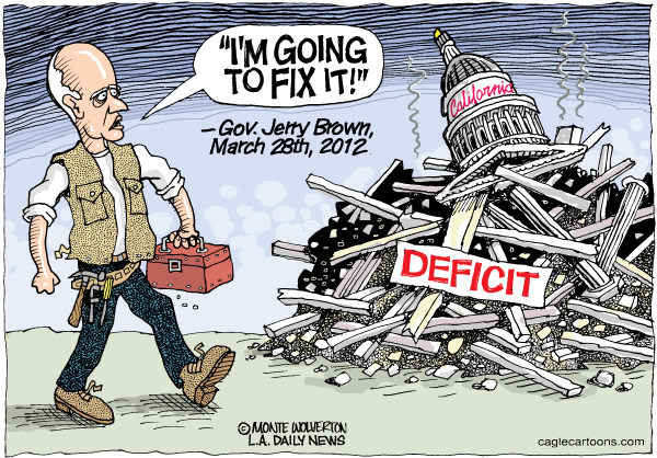 Wolverton - Cagle Cartoons - LOCAL-CA Jerry Will Fix It COLOR - English - California, Brown, Jerry Brown, Deficit, Budget, Fix, Governor, Taxes