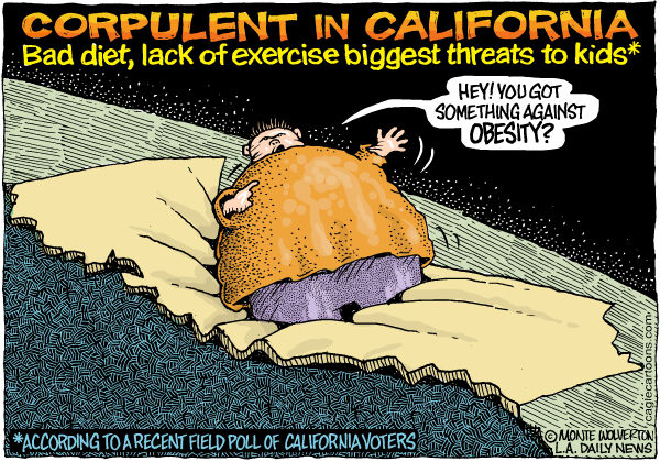 Wolverton - Cagle Cartoons - LOCAL-CA Corpulent in California COLOR - English - Fat, Obesity, Children, Diabetes, Health, California Field Poll, Exercise, Diet, Fitness, Overweight