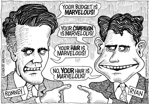 Wolverton - Cagle Cartoons - Marvelous Romney and Ryan - English - GOP budget, House Budget, Republican Budget, Paul Ryan, Mitt Romney, Ryan, Romney, Marvelous