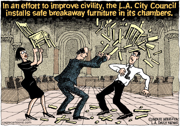 109840 600 LOCAL CA LA City Council Meeting Incivility cartoons