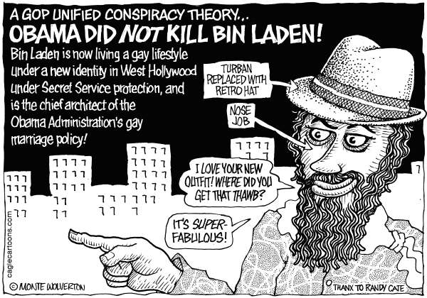 Wolverton - Cagle Cartoons - Gay Osama Is Alive - English - Osama Bin Laden, Bin Laden, Obama, Gay Marriage