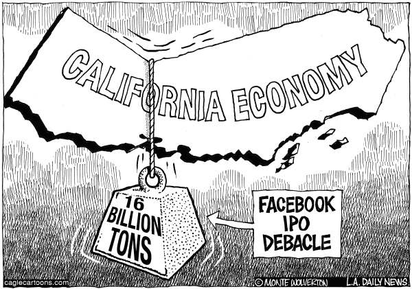 Wolverton - Cagle Cartoons - LOCAL-CA Facebook IPO and California Economy - English - Facebook, Facebook IPO, Wall Street, Stock market, California, Revenue, Taxes, Tax Revenue