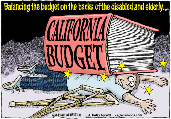 Wolverton - Cagle Cartoons - LOCAL-CA Disabled Budget Cuts COLOR - English - Disabilities, Disabled, Elderly, Seniors, Special Needs, California, Budget, Caregivers