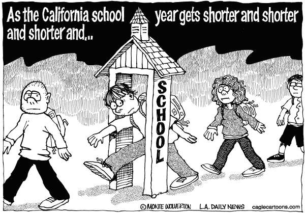 Wolverton - Cagle Cartoons - LOCAL-CA School Year Reduction - English - California School Year, Education, School year shortening, shortened school year, Jerry Brown, Brown, Tax initiative