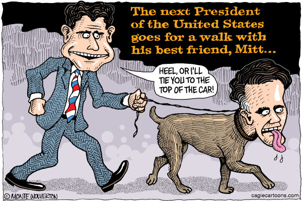Wolverton - Cagle Cartoons - Mitt's New Master COLOR - English - Ryan, Paul Ryan, Romney, Mitt Romney, Mitt, GOP, Republican, President, Vice President